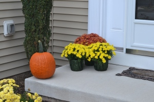 Pumpkins and Mums on the Front Porch