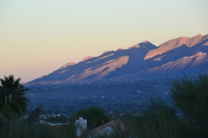 Sunrise shadows on the Catalina Mountains