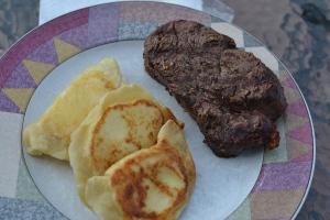 steak and pierogi