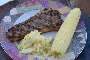 steak and corn