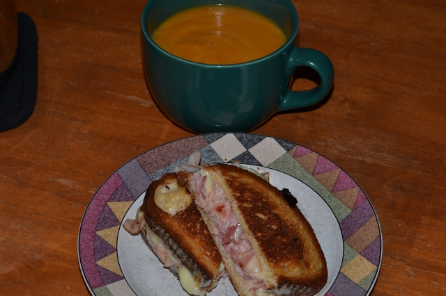 grilled cheese, butternut squash soup
