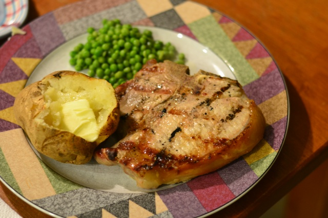 pork chops and peas
