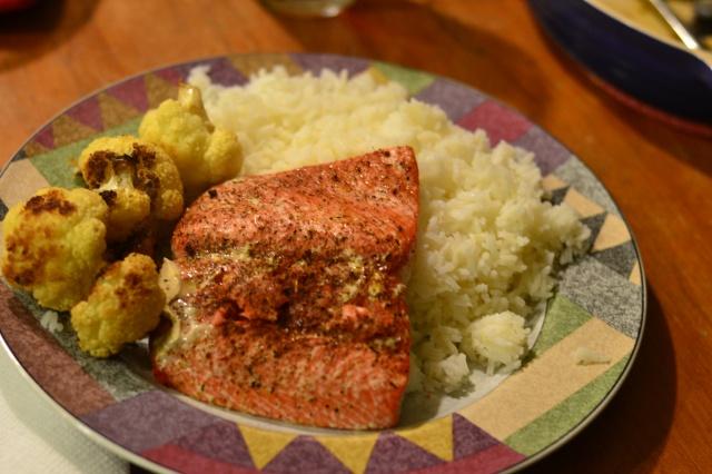 salmon, cauliflower