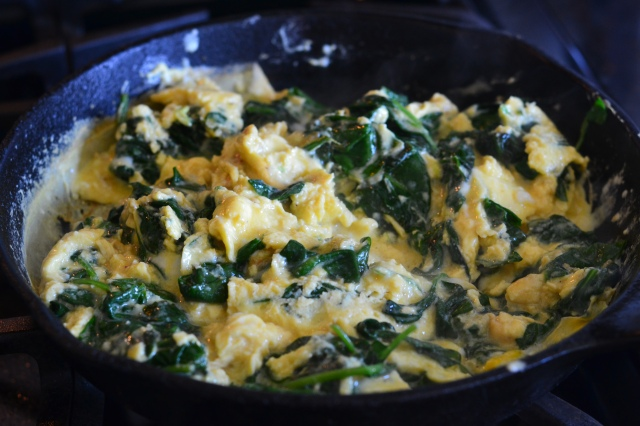 eggs scrambled with spinach