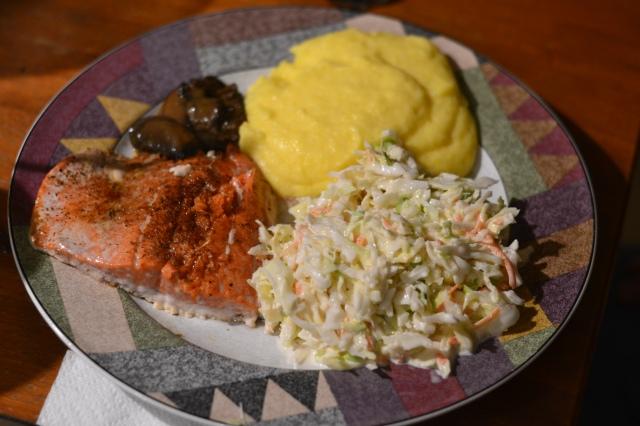 salmon, polenta