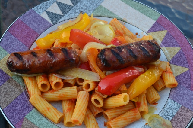 sausage, peppers and pasta