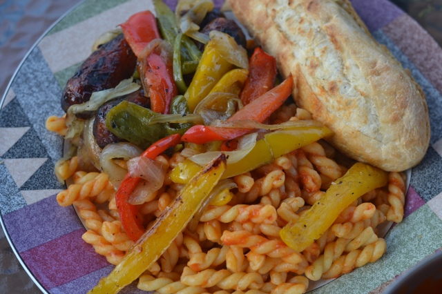 pasta, peppers, and sausage