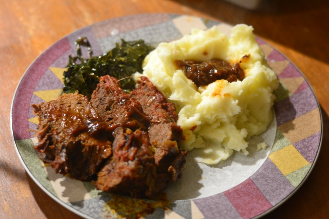 beef brisket and mashed pots